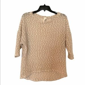 Francesca's Boho Cottage Core Top Cream Ivory Gold